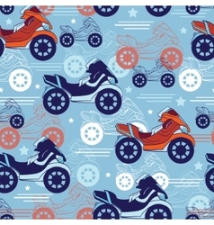 Motorcycles Blue Red Seamless Pattern Fast vector