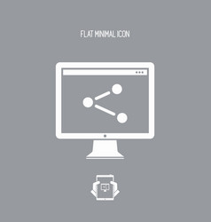 Network pc - flat minimal icon vector