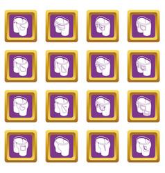 Pants pockets design icons set purple square vector