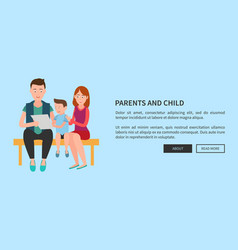 Parents and child web poster mother father and son vector