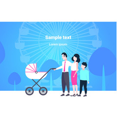 parents with son and baby in pram walking together vector image