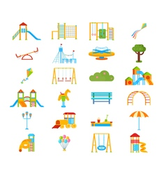 Playground Flat Elements Set vector