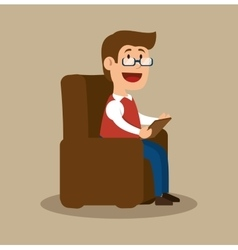 Psychology counselor sitting office vector