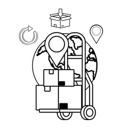 Pushcart with box in black and white vector