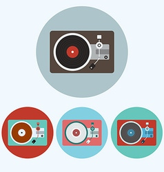 Record Player colorful icon set vector