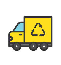 recycle sign on garbage truck filled outline flat vector image