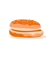 Round bun with sesame seeds vector