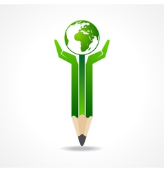 Save earth concept with pencil hands vector image