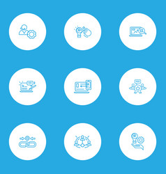 Seo icons line style set with reputation vector
