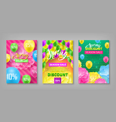 Set discount coupons spring sale bright vector
