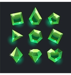 Set of cartoon green different shapes crystals vector image