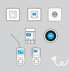set of electricity objects vector image
