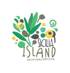 sicilia island logo template original design vector image
