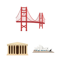 Sights of different countries cartoon icons in set vector