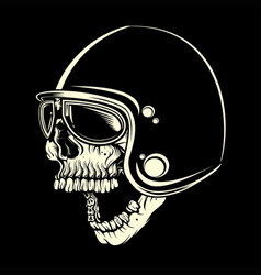 skull with helmet cafe racer hand drawing vector image