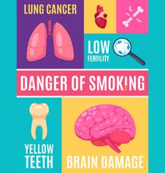 Smoking danger cartoon poster vector