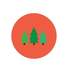 Stylish icon in circle Landscape Fir Trees vector
