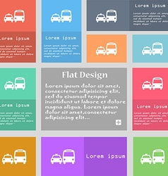 taxi icon sign Set of multicolored buttons with vector image