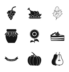 Thanksgiving feast icons set simple style vector