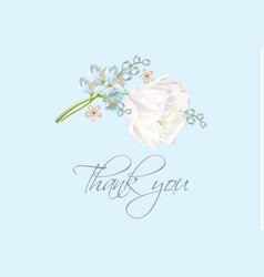 Tulip thank you blue vector