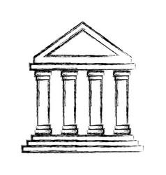 Uncolored greek building vector