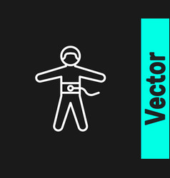 White line bungee jumping icon isolated on black vector