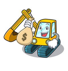 With money bag excavator character cartoon style vector