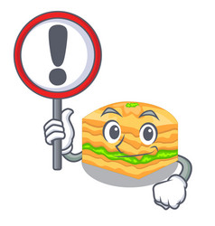 with sign cartoon baklava is served on plate vector image