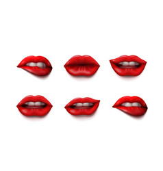 woman mouth close up with red lipstick makeup set vector image