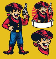 cheerful young cowboy mascot vector image vector image