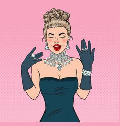 pop art glamour woman with diamond jewelry vector image