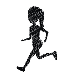 silhouette girl running icon design isolated vector image