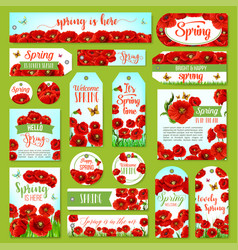 springtime holiday greeting tag and gift label set vector image vector image