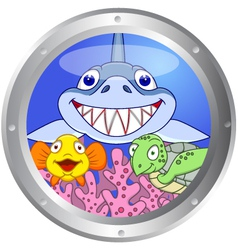 386Funny fish and turtle vector image vector image
