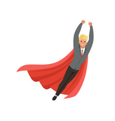 cheerful business man with classic superhero vector image vector image