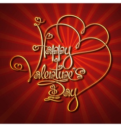Glamorous Gold Happy Valentines Day vector image