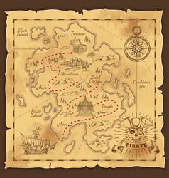 pirate treasure map hand drawn vector image