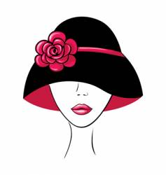 woman in vintage hat vector image vector image