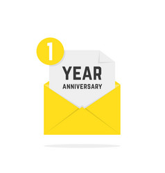 1 year anniversary icon in yellow letter vector image
