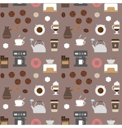 Coffee flat icons seamless pattern 2 vector image