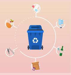 recycle garbage bins waste types segregation vector image
