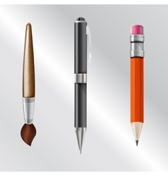 writing implements including pencil pen brush vector image vector image