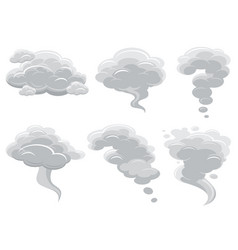 cartoon smoking clouds and comic cumulus cloud vector image