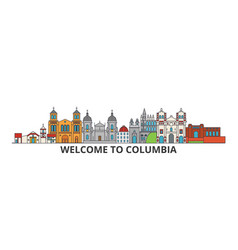 columbia outline skyline columbian flat thin line vector image