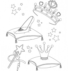 princess collectibles coloring page vector image vector image