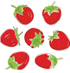 Set red strawberries on a white background Hand vector image