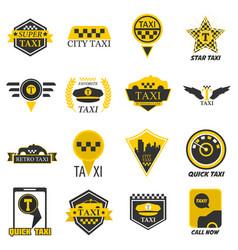 taxi web icons set yellow checkered flag star vector image vector image