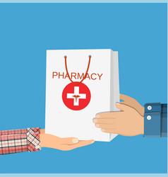 white shopping bag for medical pills vector image