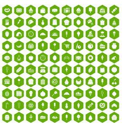 100 confectionery icons hexagon green vector