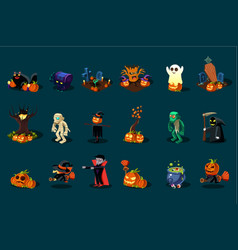 18 3d halloween icon set vector image